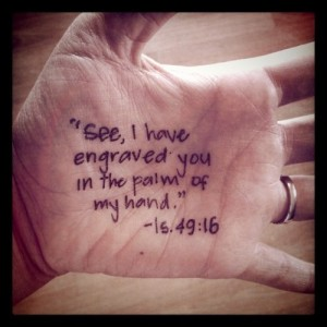 Image result for inscribe on his hand